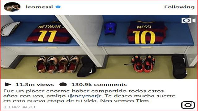 Lionel Messi Memberikan Ucapan Perpisahan Kepada Neymar